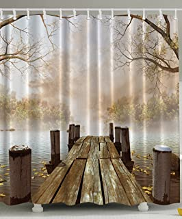 Great Shower Curtain Collection By Ambesonne, Ocean Decor Fall Wooden Bridge  Seasons Lake House Nature Country