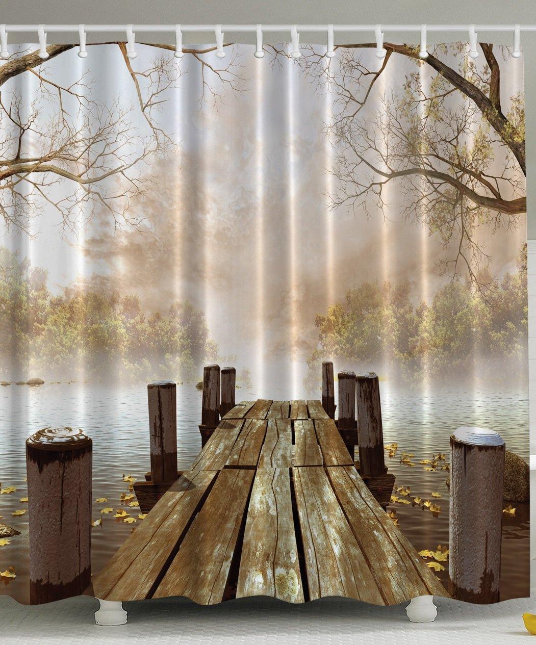 Shower curtain bathroom decor fall wooden bridge seasons for Bathroom decor nature