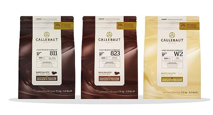 Callebaut 3 x 2,5kg Bundle - Cobertura de Chocolate con Leche, Negro &