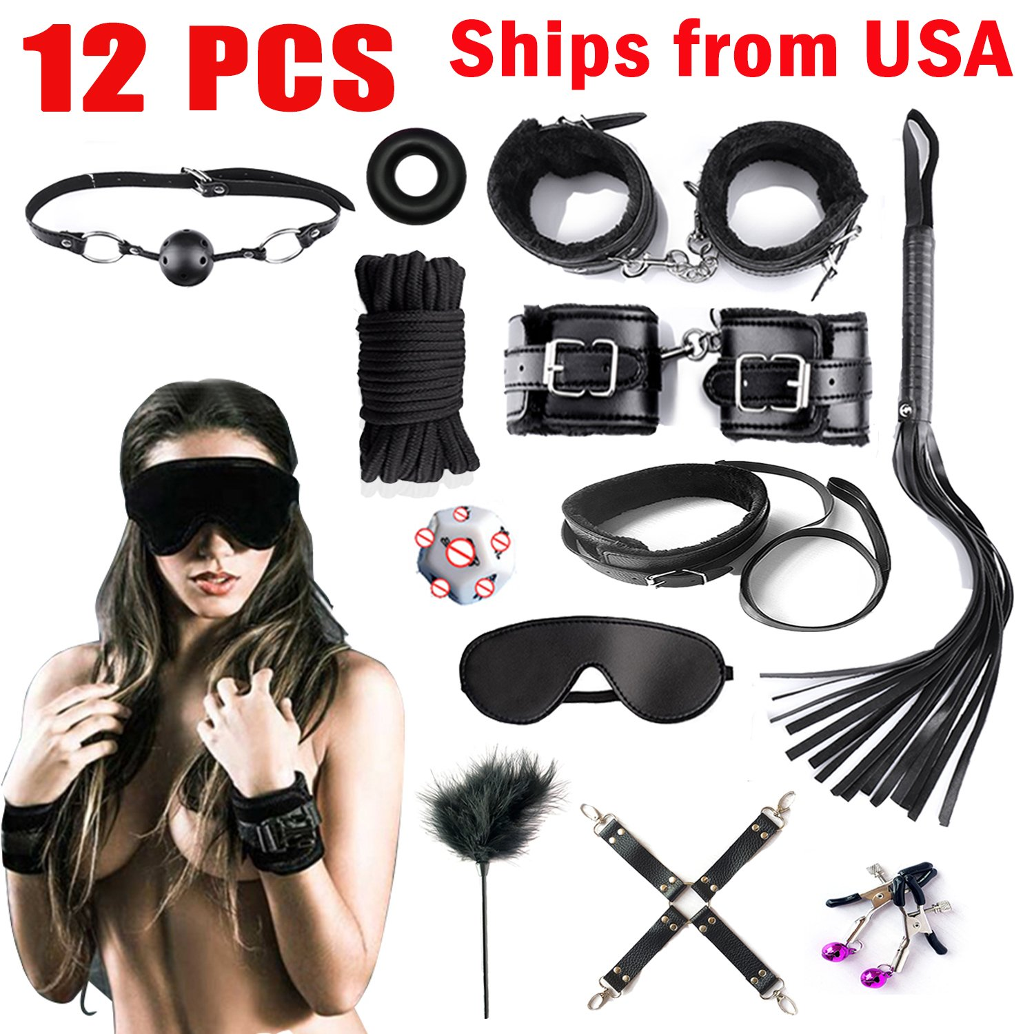 Handcuffs for Under Bed Restraint Kit Bondage Bondageromance Fetish Sex Play BDSM SM Restraining Straps Thigh Game Tie up Mattress Harness Things Blindfold Whips Toys Adults Women sdfgs by ALUTT