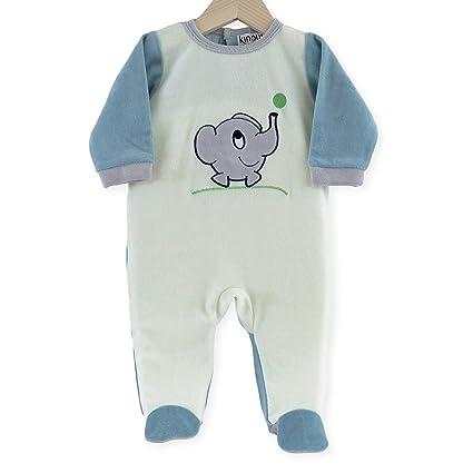Kinousses - Pijama de terciopelo para bebé, diseño de elefante, color crudo beige beige