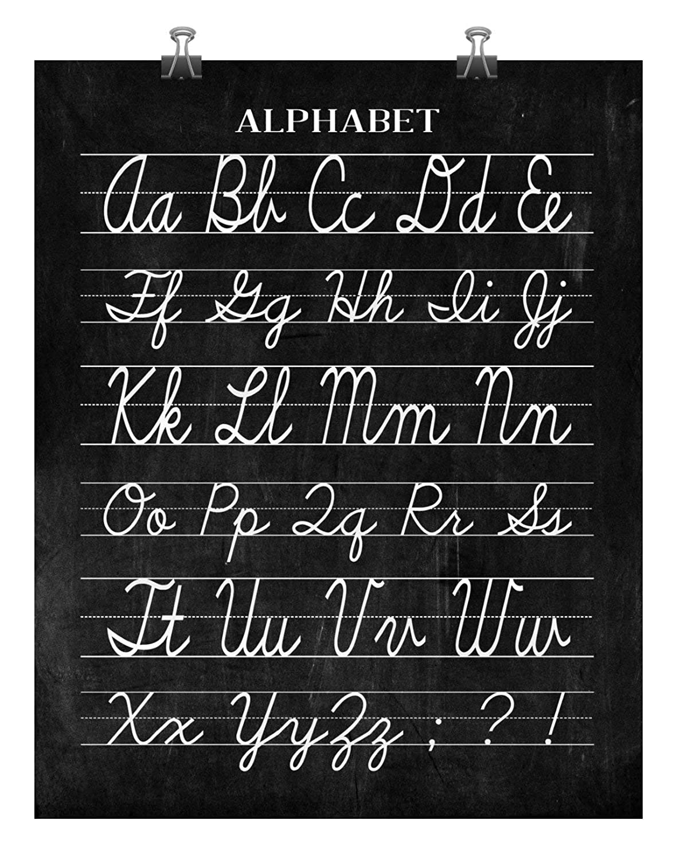 Vintage Cursive Alphabet Classroom Poster Chalkboard Word Art Print - Back  to School Teacher Appreciation Gift - Multiple Sizes