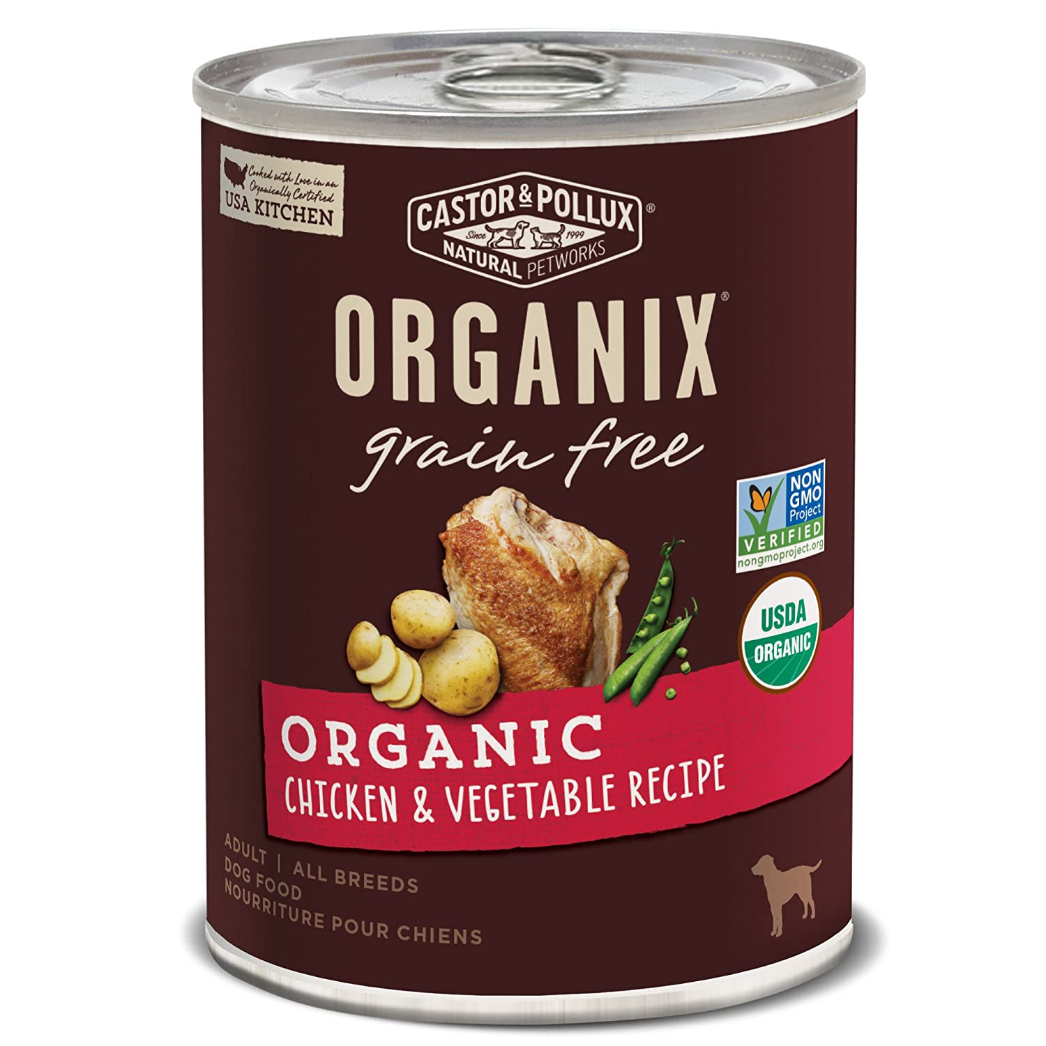 Castor Pollux Organix Grain Free Organic Chicken Vegetable Recipe Wet Dog Food, 12.7 Oz., Case Of 12 Cans