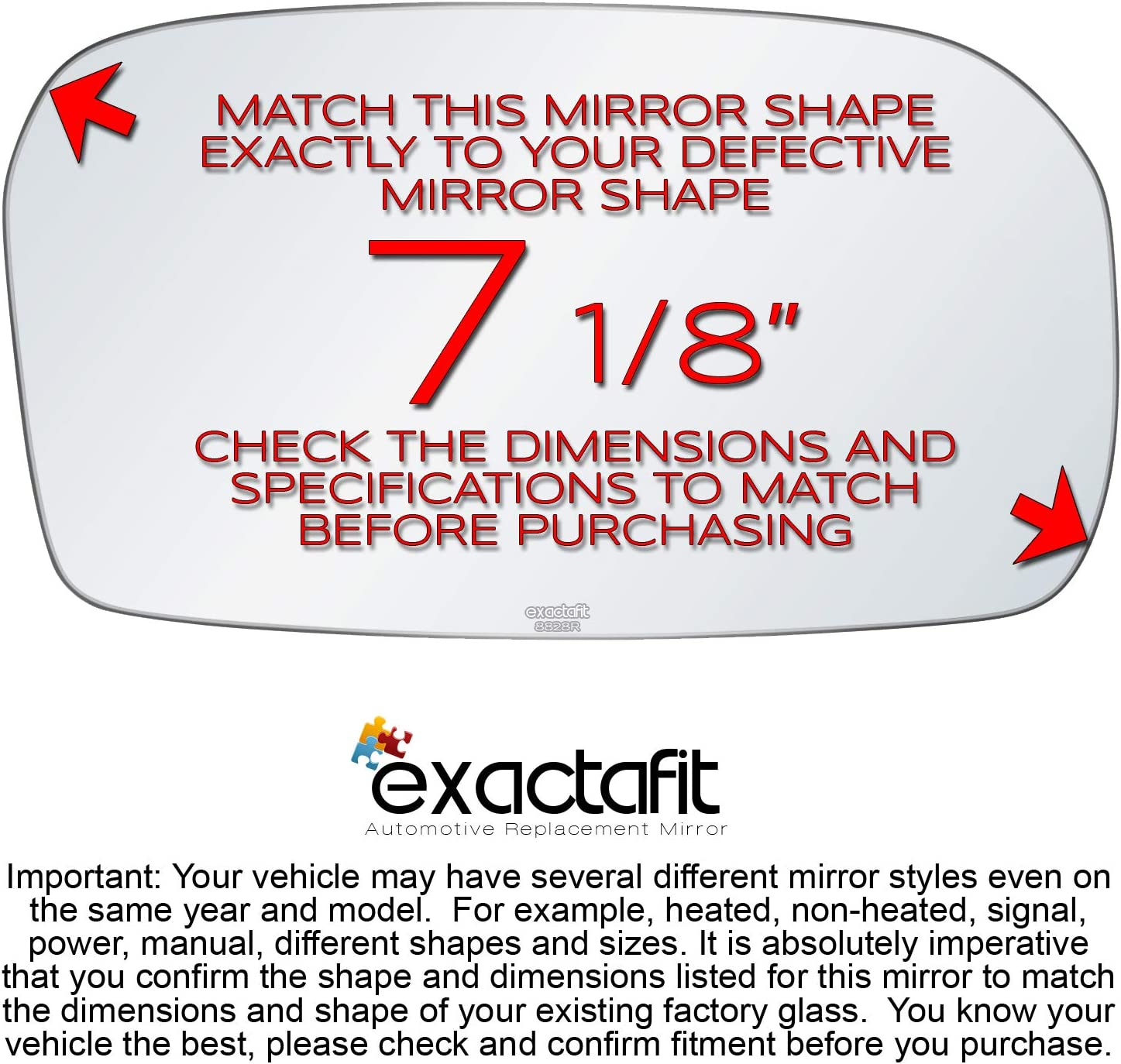Passenger Side Rear View Mirror Glass Replacement Right Hand Fits 2002 2003 2004 2005 Honda Civic by exactafit 8828R Adhesive Install