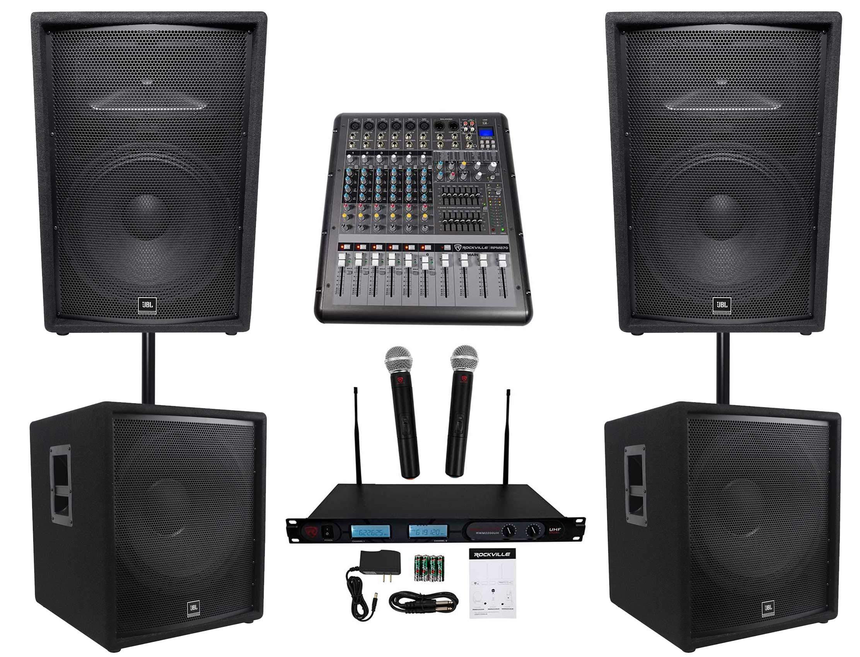 (2) JBL JRX215 1000w 15'' DJ P/A Speakers+(2) 18'' Sub+Powered Mixer+Wireless Mics by JBL