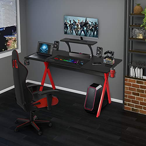 LAZZO 57″ Multifunction Computer Gaming Desk,Stylish Home Office Desk