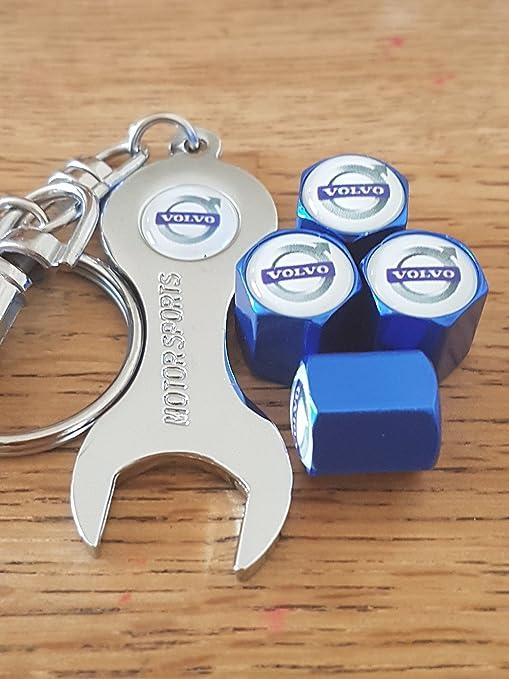 Eurotech VOLVO azul rueda polvo tapones para las válvulas con cromo llave llavero