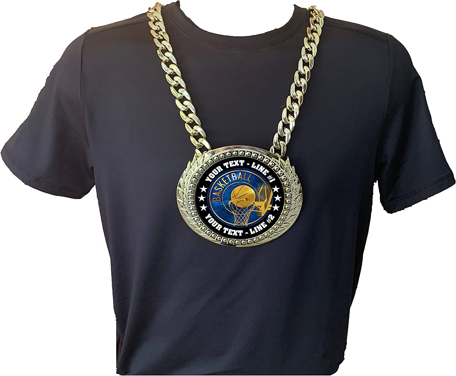 EG12 Express Medals Custom Basketball Champ Chain Trophy with 2 Lines of Personalized Text on a Large Rigid Plastic Championship Award Medal and 34 Inch Long Gold Color Neck Chain