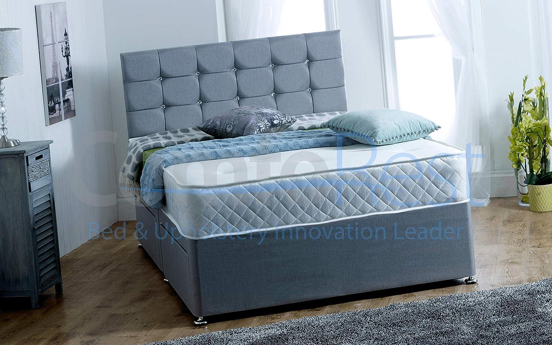 Divan Base + Mattress + Headboard ComfoRest Bedding /& Upholstery Innovation Leader Complete Divan Bed Set With Ottoman Box 2 Drawers 3FT Single, Cream Naples