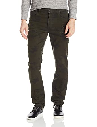 ca19b304109 Hudson Jeans Men's Broderick Front Zip Slouchy Skinny Fit Jean in, Militant  Camo Wax,
