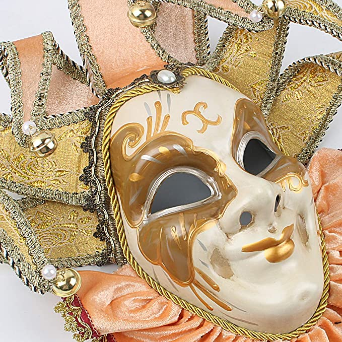 VENETIAN CARNIVAL MASK /& Wall Hanging \u2022 Like New In Mint Condition \u2022 Hand Painted Classic Jester Design \u2022 Made In Italy \u2022 Vintage 1980s !!!