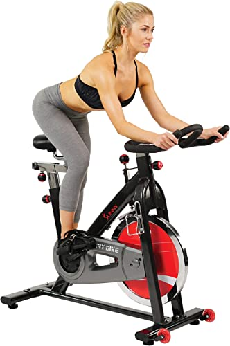 Sunny Health Fitness 49 Lb Chromed Flywheel, Silent Belt Drive Indoor Cycle Bike with Leather Resistance Pad