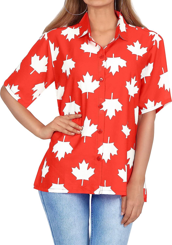HAPPY BAY Women's Tropical Hawaiian Camp Aloha Shirt Regular Fit Short Sleeve