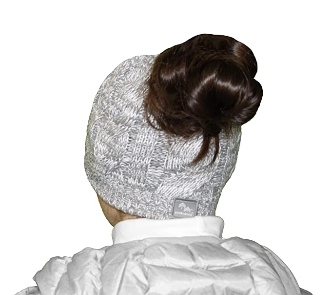 fd7af92b79d Peekaboos Classic Cable Knit Ponytail Hat