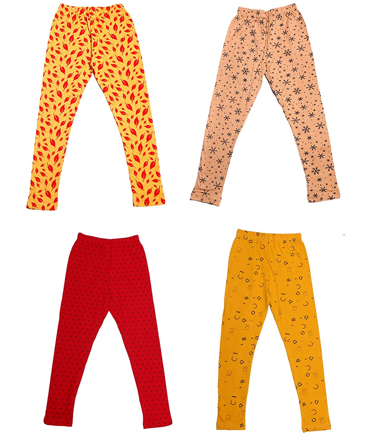 Indistar Girls Super Soft and Stylish Cotton Printed Churidar Legging Pack of 4