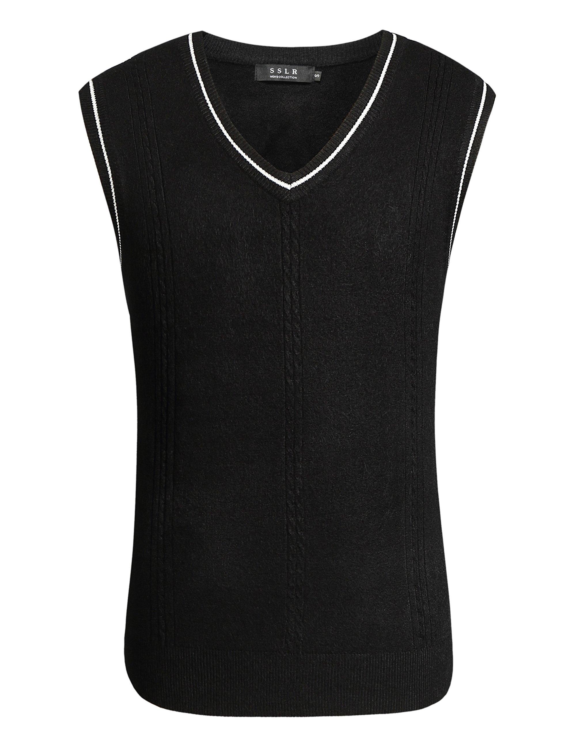 SSLR Men's Regular Fit V Neck Pullover Casual Sweater Vest (Large, Black)