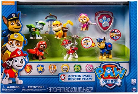 Paw Patrol Action Pack Rescue Team With Everest Marshall Rubble Chase Skye And Ryder Badge Playsets Amazon Canada