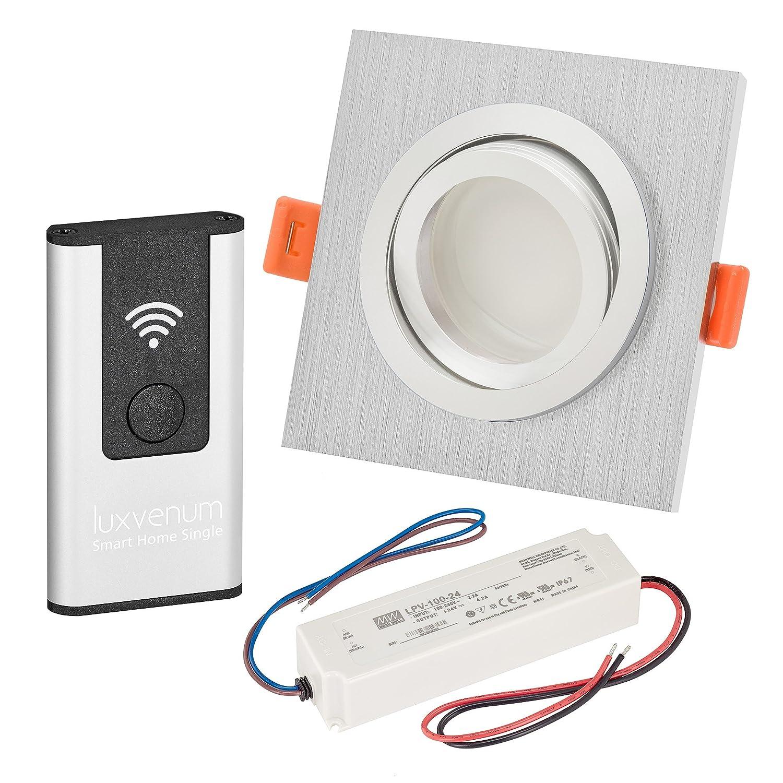 LUXVENUM   3er-Set Alexa Echo Smart Home kompatible LED-Einbaustrahler 230V extra flach 25mm DIMMBAR 6W statt 70W Lista Metalico Aluminium gebürstet eckig warmweiß 3000K