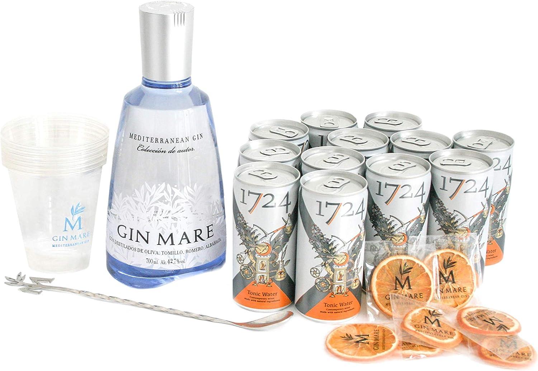 Gin Mare Home Bar (Ginebra 700 ml + 12 Tónicas Premium Seventeen + Naranjas deshidratadas + Vasos + Cucharilla removedora): Amazon.es: Alimentación y bebidas