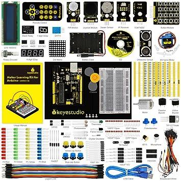 【タイムセール】keyestudio Arduino用UNO R3スタータキット、チュートリアルあり、UNO R3、LCD、サーボ、ジョイスティック、IRレシーバ、モータ、超音波 Arduino STEM教育用