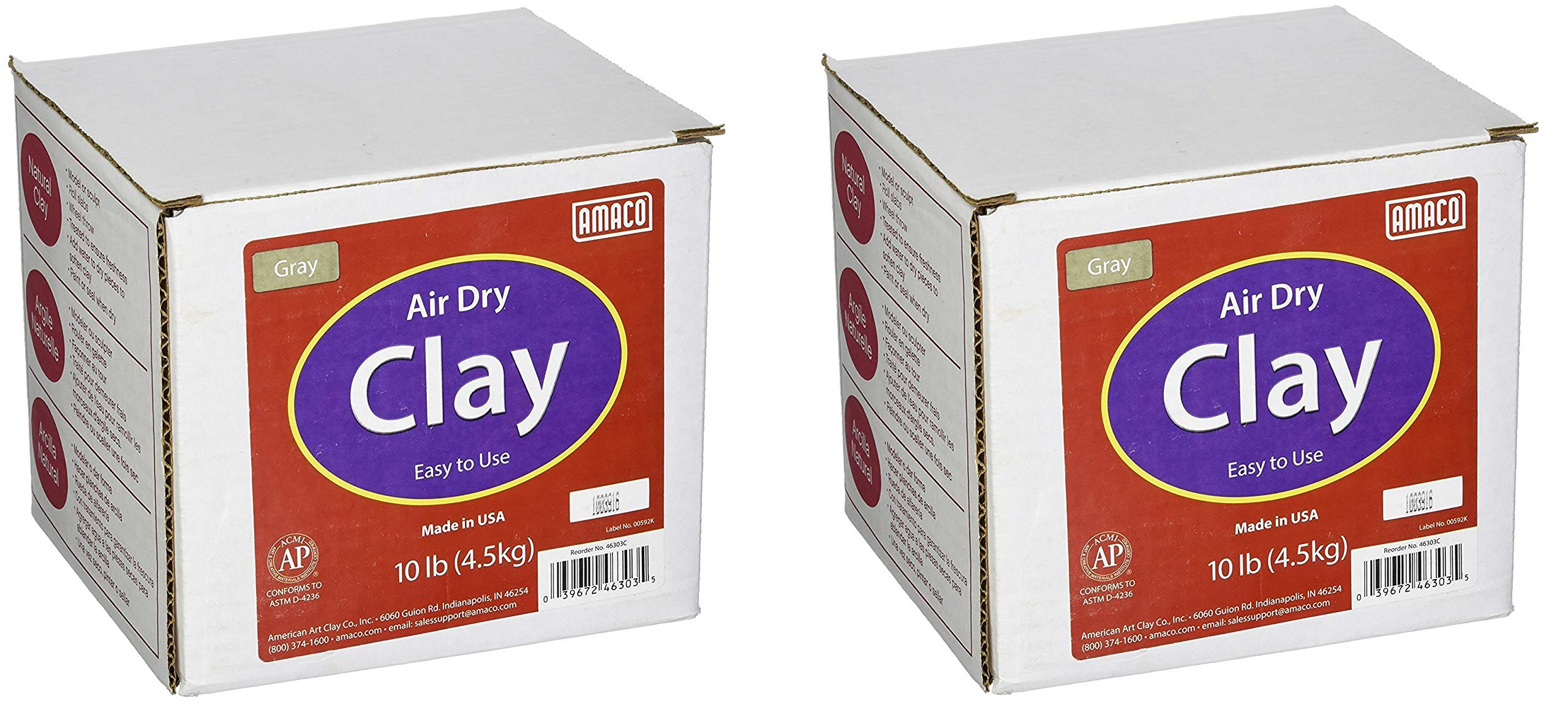 AMACO 4630-3C Air Dry Modeling Clay, 10-Pound, Gray (Pack of 2) by AMACO (Image #1)