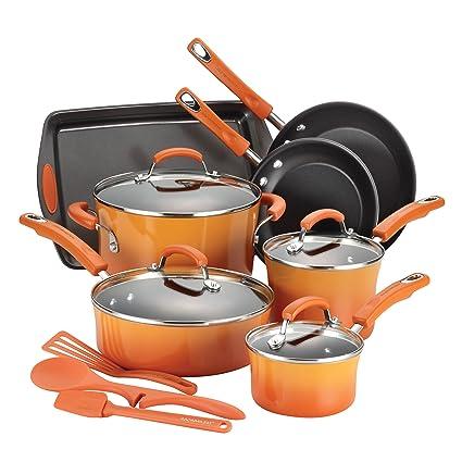 Rachael Ray 14 Piece Hard Enamel Nonstick Cookware Set Orange