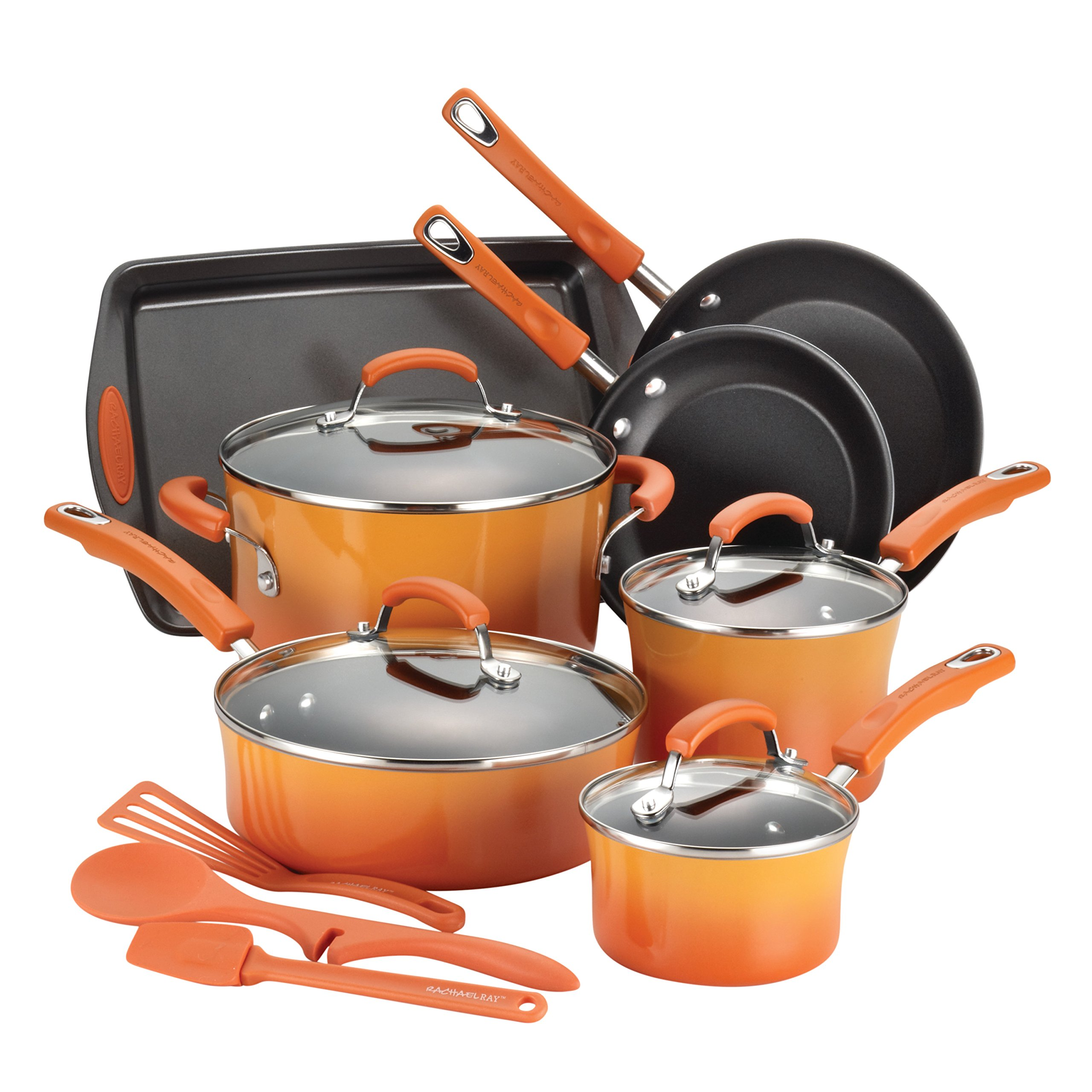 Rachael Ray 14-Piece Hard Enamel Nonstick Cookware Set, Orange by Rachael Ray