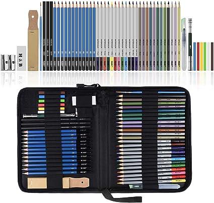 Lypumso Lapices de Dibujo Artístico, Set de Lápices Colores Profesional Bosquejo Carbón Grafito Sticks, Estuche Lápices de Color. Conjunto Ideal para Artistas, Adultos y Niños (51 Piezas): Amazon.es: Oficina y papelería