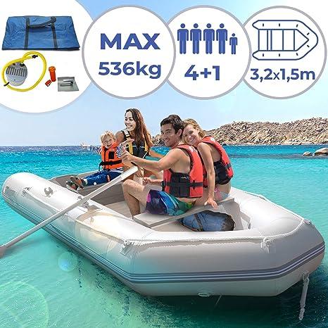 Jago Barca Hinchable para 4 Personas - 320 x 152 cm, con 2 Remos de Aluminio y Bomba, Capacidad 536 kg, Suelo de Aluminio, para 4 Personas Adultas y 1 ...