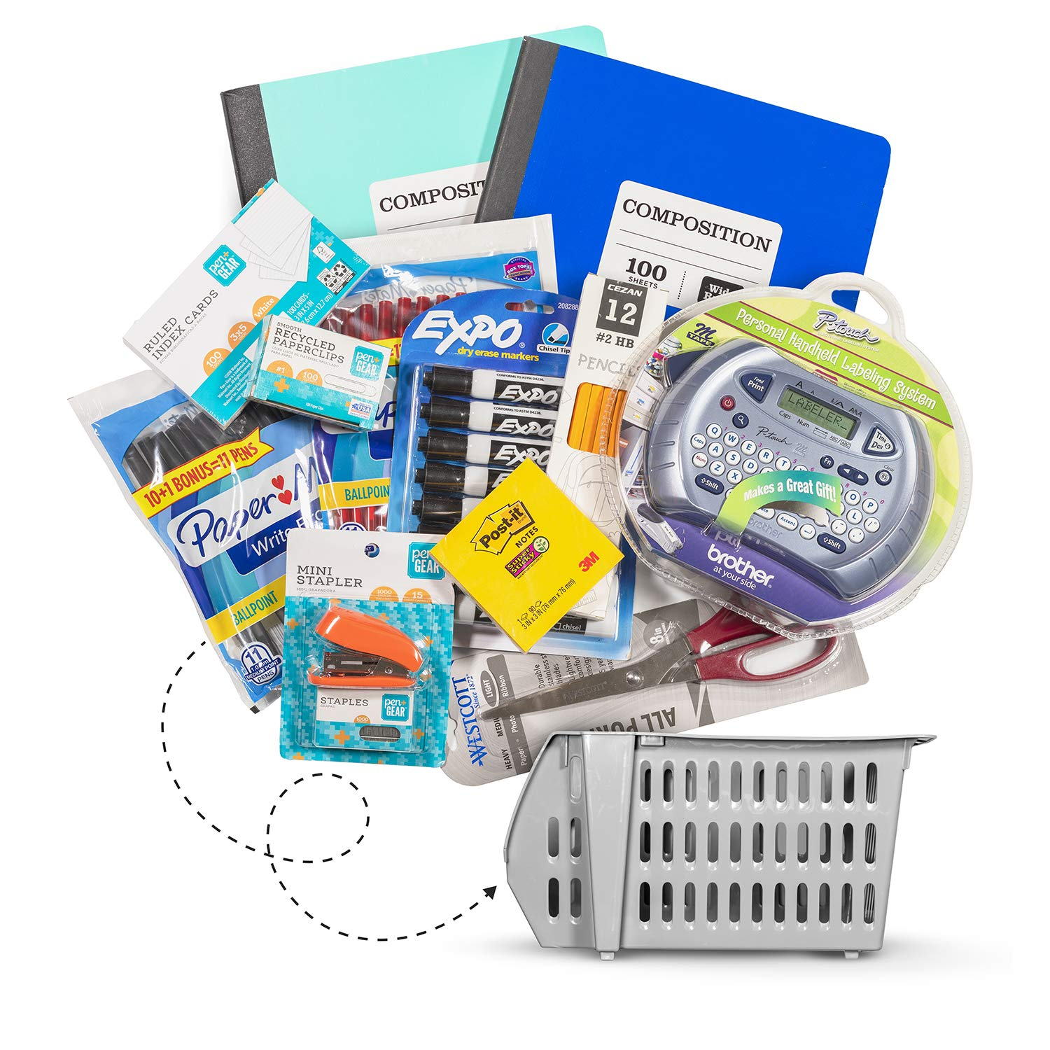 Large 13 pc Back to School Teachers Kit - Bundle Includes: Label Maker Dry Erase Markers Notebooks Scissors Stapler Index Cards Sticky Notes Black/Red Pens Paperclips Pencils and Storage Basket by Ck Ink