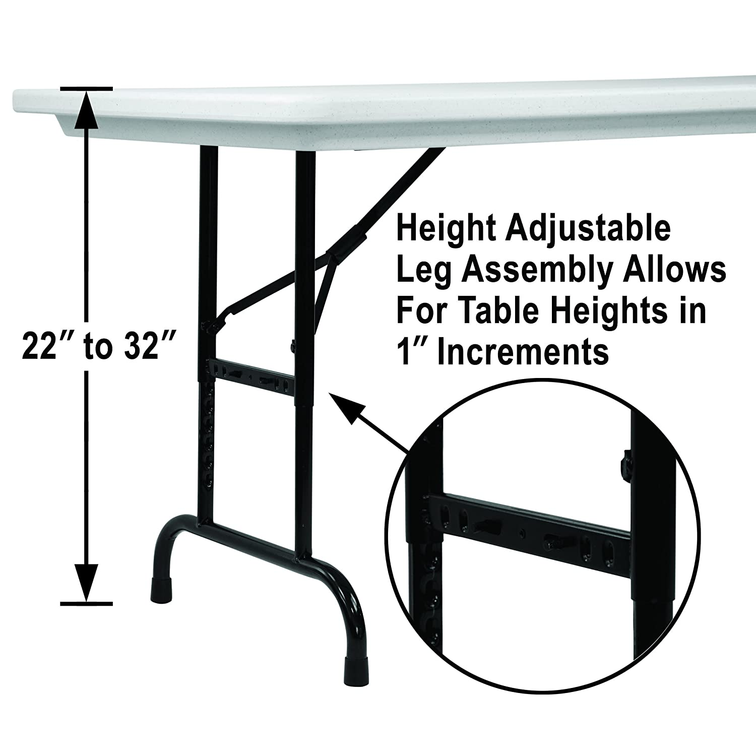 Correll RA3060-23 R Series, Adjustable Height Blow Molded Plastic Commercial Duty Folding Table, Rectangular, 30 x 60 , Gray Granite