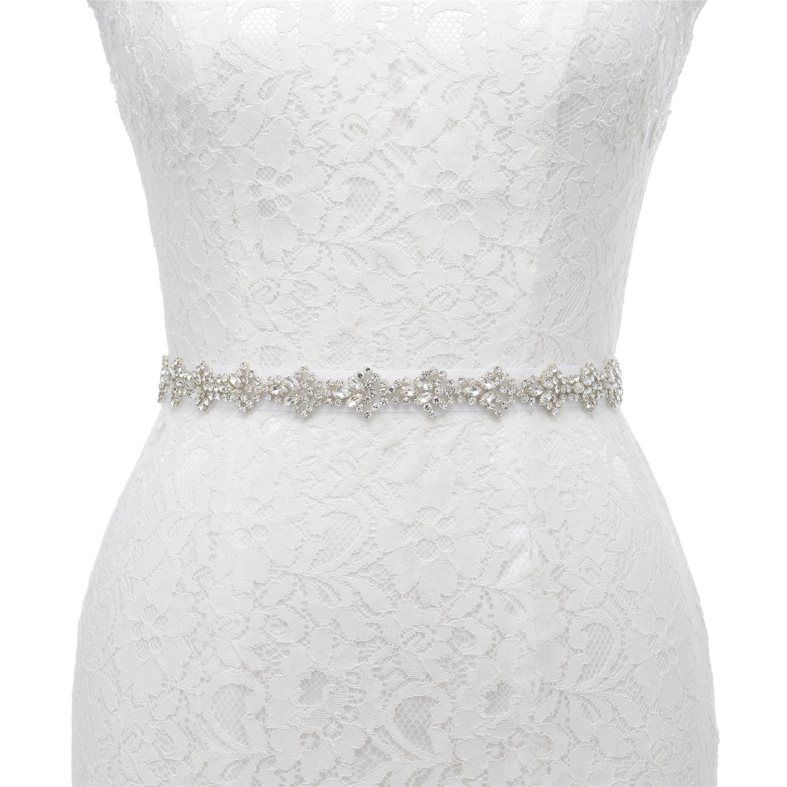 AW Crystal Wedding Dress Belt Women's Rhinestone Sash Belt, 17 x 1 inch, White
