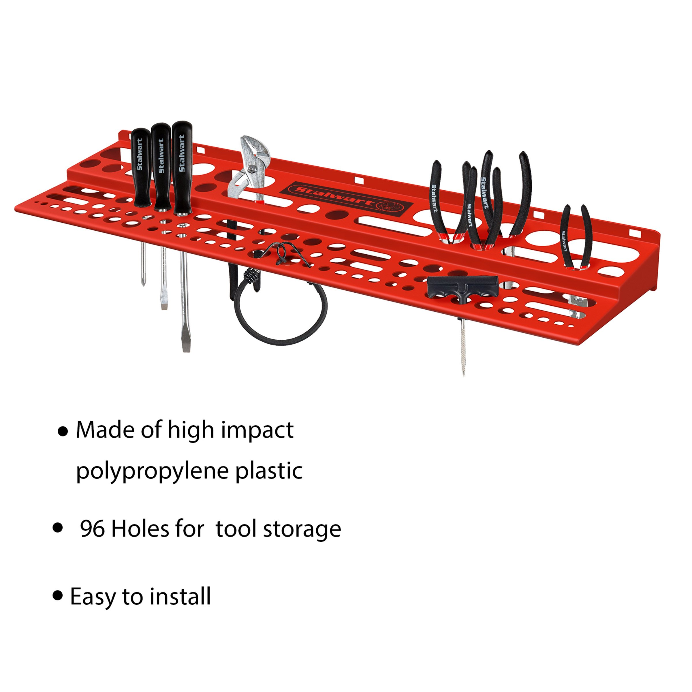 Mountable Tool Storage Shelf for Garage, Shed or Work Shop Organization- Wall Mount Multi Level Organizer Rack, Holds Up To 96 Tools by Stalwart by Stalwart (Image #3)