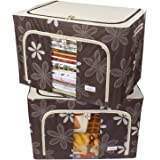 BlushBees® Living Box - Storage Boxes for Clothes, Blanket Cover Bag - 100 Litre, Pack of 2, Brown