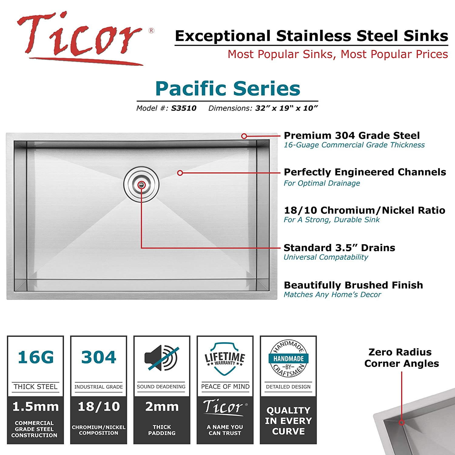 32 Ticor S3510 Pacific Series 16-Gauge Undermount Stainless Steel Single Bowl Zero Radius Square Kitchen Sink with Accessories