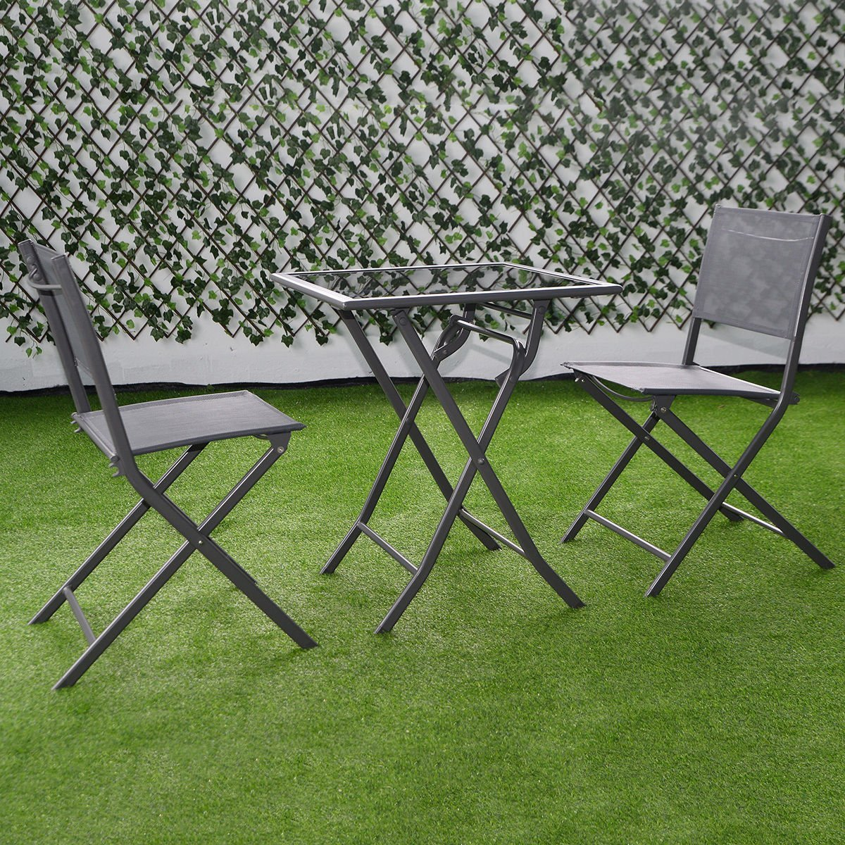 Amazon.com: Giantex 3 Pcs Bistro Set Garden Backyard Table Chairs Outdoor  Patio Furniture Folding: Garden U0026 Outdoor