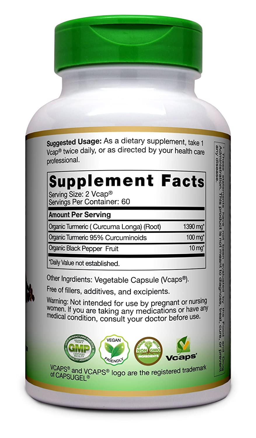 Turmeric Curcumin with Bioperine 1500mg.Highest Potency Purity Available. Joint Support with 95 Standardized Curcuminoids. Non-GMO, Gluten Free Turmeric Capsules with Black Pepper