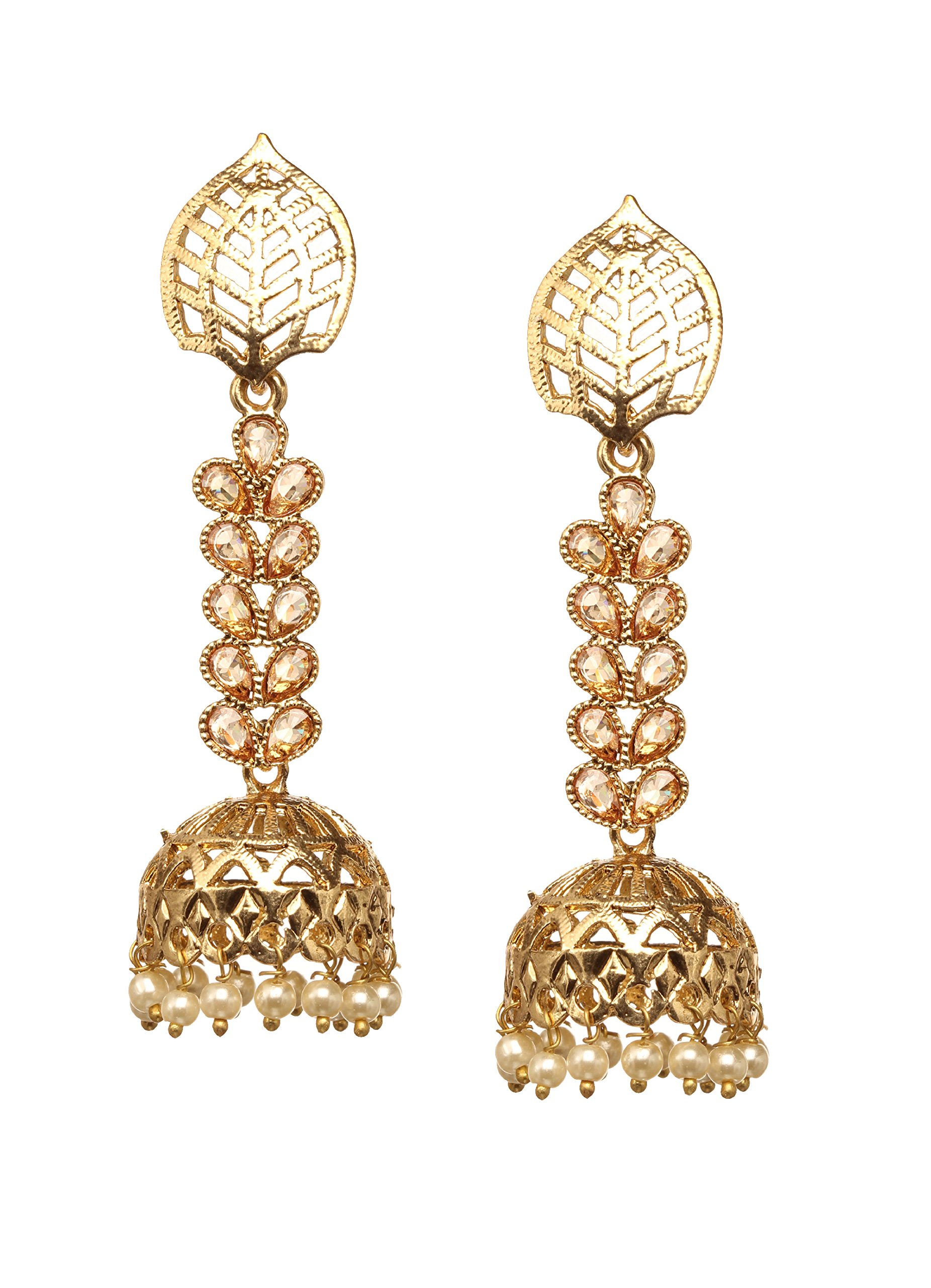 Bindhani Premium Wedding Indian Bollywood Golden Stone Long Dangle & Jhumka Jhumki Earrings Jewelry For Women