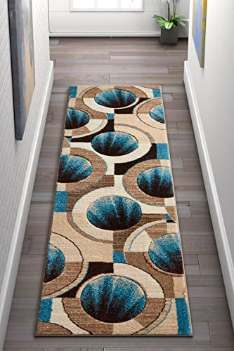 Well Woven Sunburst Blue,Beige Brown Modern Geometric Comfy Casual Hand Carved 2×7 2' x 7' Runner Area Rug Easy to Clean Stain Fade Resistant Abstract Contemporary Thick Soft Plush