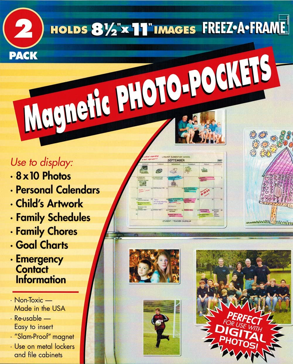 """2PO Set of 2 Magnetic Photo Frames 8.5"""" x 11"""" for Use on Any Metal Surfaces"""