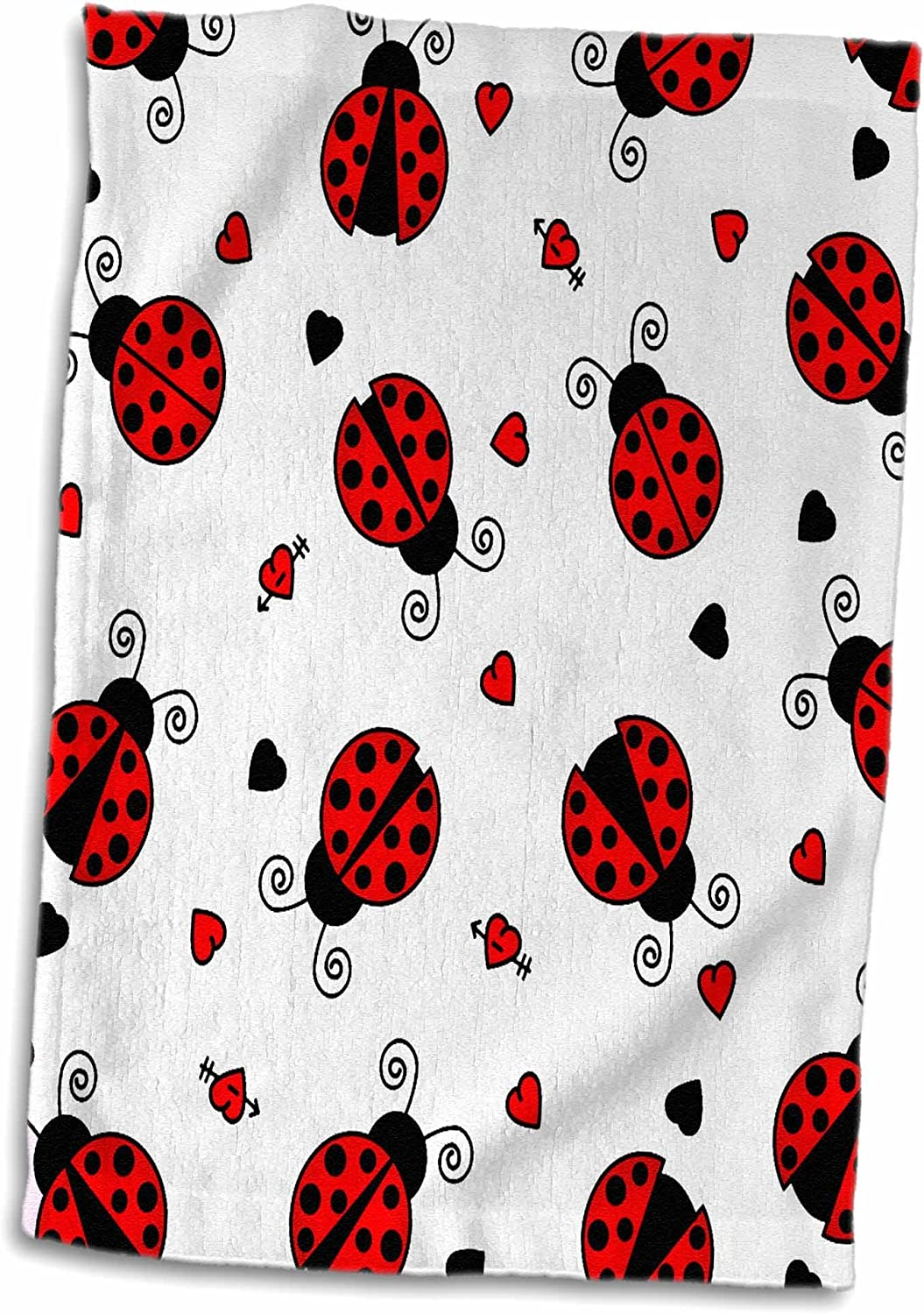 3D Rose Love Bugs Red Ladybug Print with Hearts TWL/_12100/_1 Towel 15 x 22