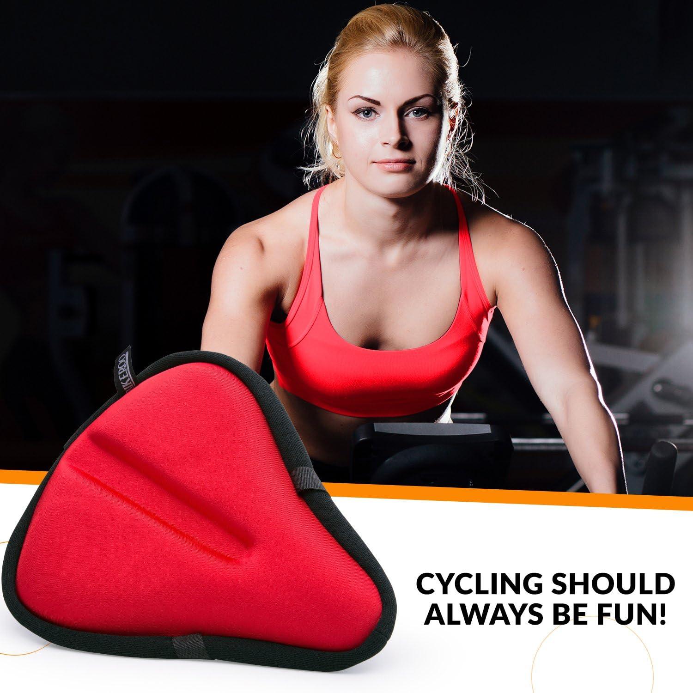 comodo sia per uomini che per donne compatibile con biciclette e cyclette morbido e imbottito sellino in gel per bicicletta per esercizi al chiuso e spinning largo Bikeroo