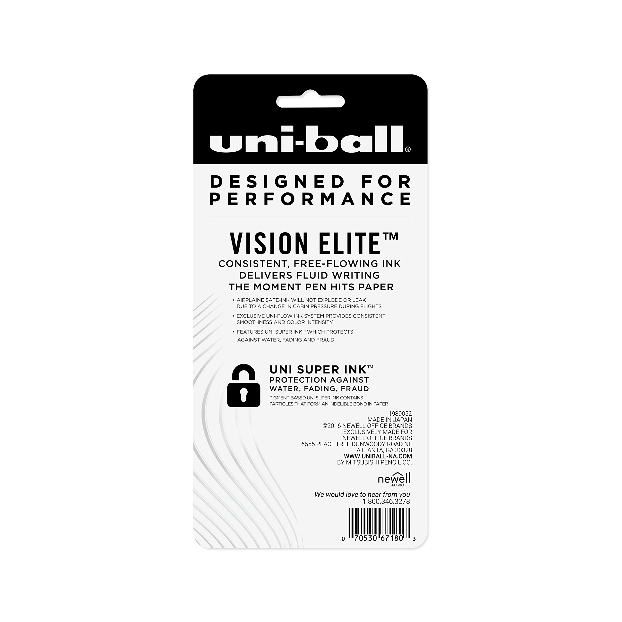 uni-ball Vision Elite Rollerball Pens, Bold Point (0.8mm), Black, 4 Count by Uni-ball (Image #8)