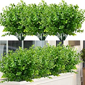 ArtBloom 24 Bundles Outdoor Artificial Boxwood UV Resistant Fake Stems Plants, Faux Plastic Greenery for Indoor Outside Hanging Plants Garden Porch Window Box Home Wedding Farmhouse Décor