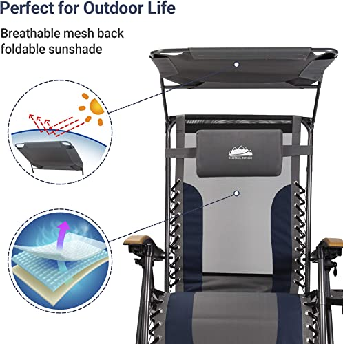Coastrail Outdoor Zero Gravity Sun Shade 400lbs Capacity Padded Seat Cool-Mesh Back Reclining Lounge Chair Plus Pillow