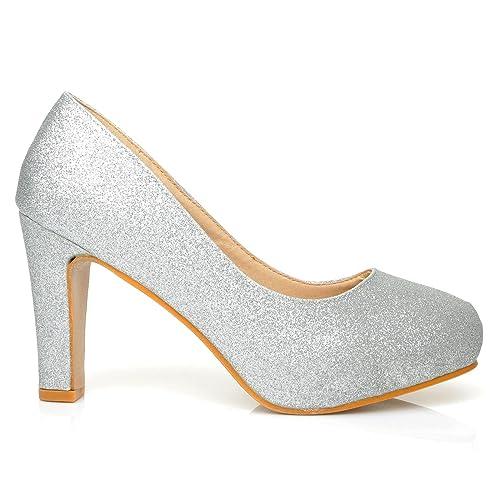 LOVE Silver Glitter SlimBlock High Heel Platform Court Shoes  B073FRTLHJ