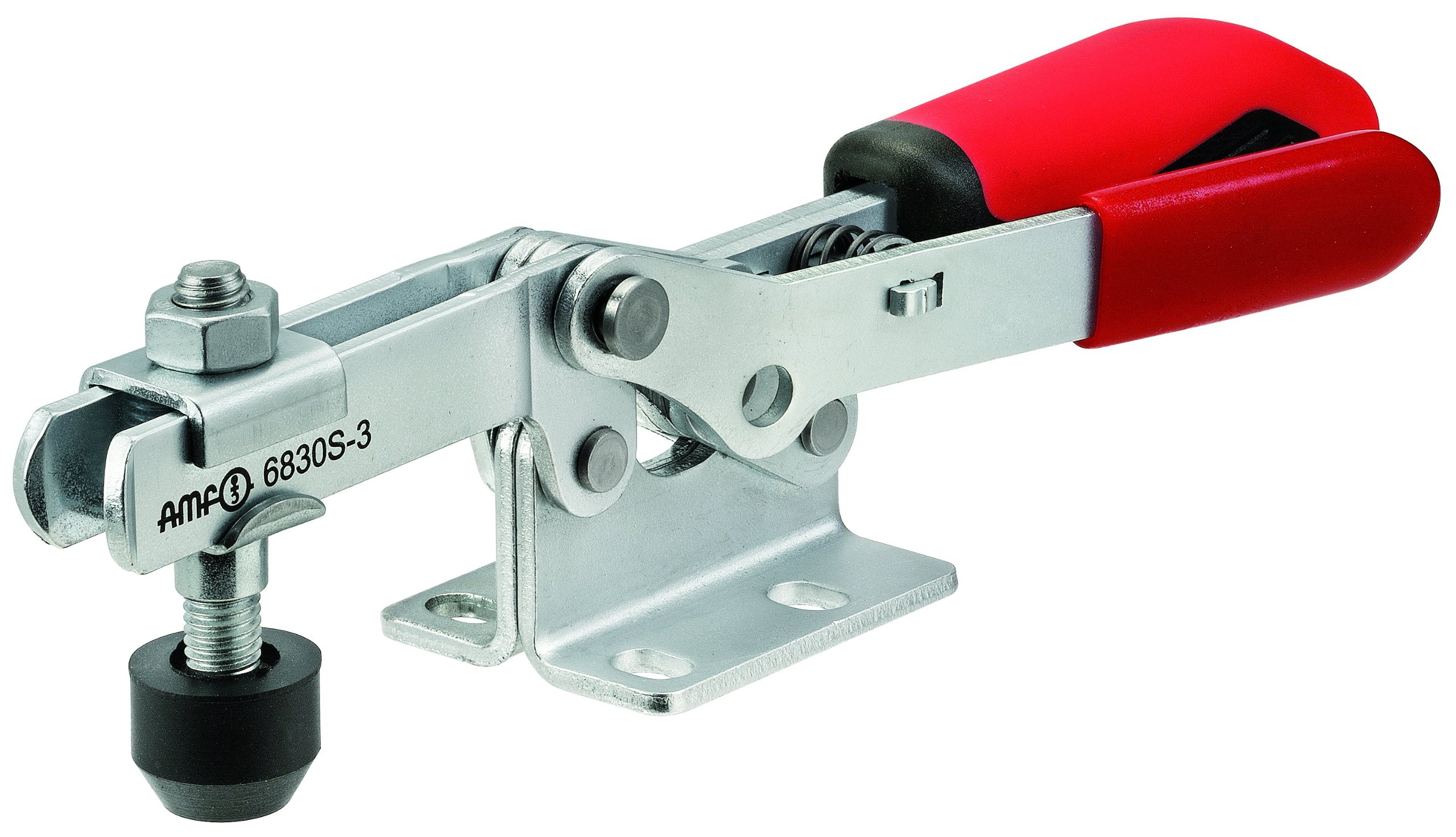 JW Winco Series 6830-S Steel Horizontal Acting Toggle Clamp with Safety Interlock and Horizontal Mounting Base, Metric Size, Clamp Size 3, 1800/2500 Newton Holding Capacity