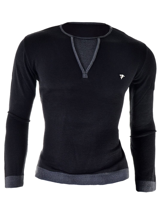 D&R Fashion Mens Sweatshirt Black Elegant Collar Slim Fit Casual Jumper M-2XL