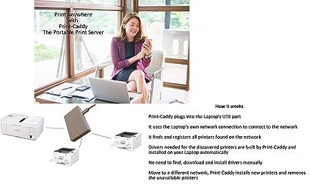 Print-Caddy: Portable Network Print Server Ethernet or Wireless via PC   Upto 10 printers  Automatic