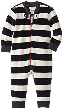 68ce95aed Hatley Baby Boys Infant Velour Navy Striped Romper
